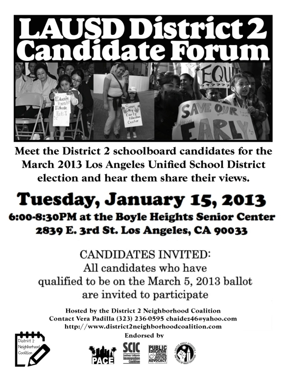candidate forum January 15 Boyle Heights -FLYER